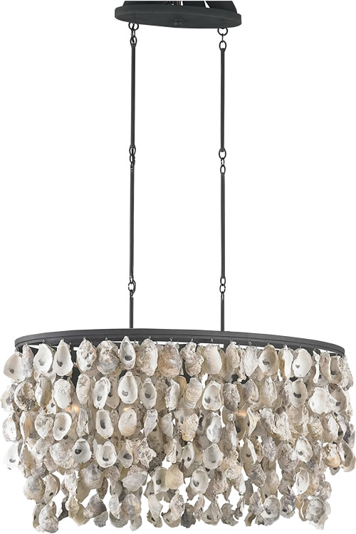 Kathy Kuo Home Sagg Oyster Shell Island Light or Currey & Company 9492 Stillwater Oval Chandelier