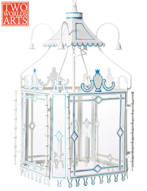 Two World Arts LCD2483 Blue and White Pagoda Lantern