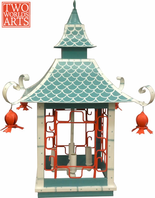 Two World Arts LCD 2381 Handpainted Lantern Chandelier with Fish Scale Roof