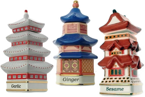 Danbury Mint Spices of the World Garlic Korean Temple Ginger Chinese Pavilion Sesame Japanese Pagoda