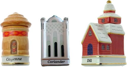 Danbury Mint Spices of the World Cayenne African Hut Coriander Moroccan Mosque Dill Denmark Danish Church