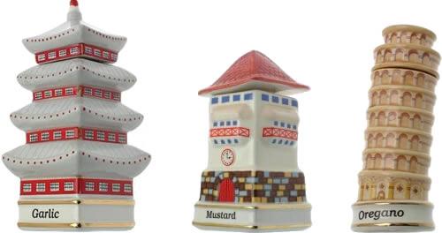 Danbury Mint Spices of the World Garlic Korean Temple Mustard German Clock Tower Oregano Italy's Tower Of Pisa