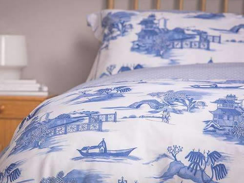 Blue Willow Duvet Cover and Pillow Case from Foxford Woollen Mills in Ireland