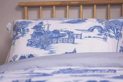 Blue Willow Duvet Cover and Pillow Case from Foxford Woollen Mills
