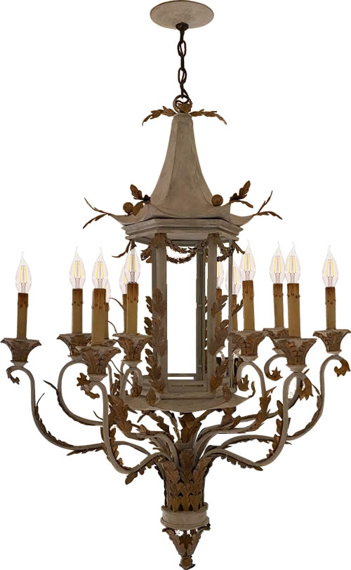 Discontinued Currey and Company Chinoiserie Pagoda Tole Chandelier