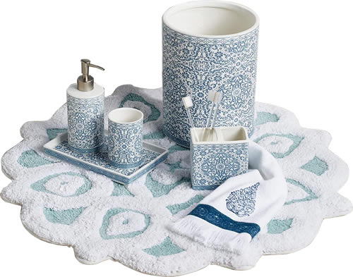 Peri Home Capri Medallion Bath Collection Bath Rug, Liquid Soap or Lotion Dispenser, Tumbler Cup, Tray, Wastebasket, Toothbrush Holder and Fingertip Towel