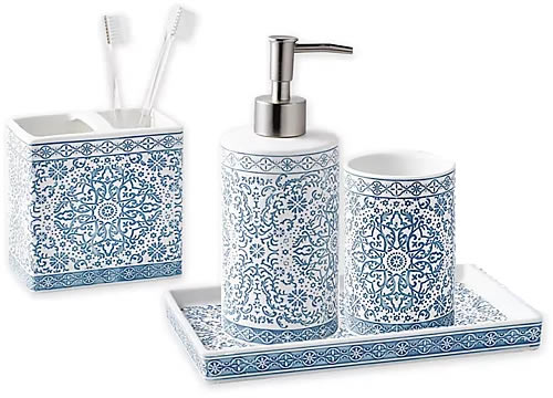 Peri Home Capri Medallion Bath Countertop Collection Toothbrush Holder, Liquid Soap or Lotion Dispenser, Tumbler Cup and Tray