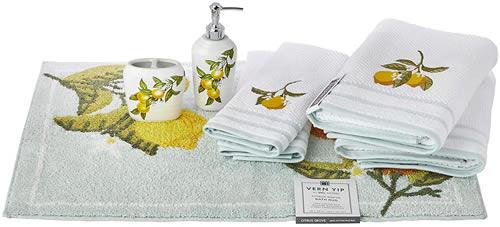 SKL HOME by Saturday Knight Ltd. Vern Yip Citrus Grove Full Bath Splash Box Set Includes: Lotion/Soap Dispenser, Rug, 2 Hand Towels, 2 Bath Towels, Toothbrush Holder