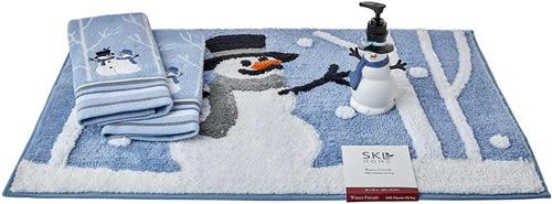 SKL HOME by Saturday Knight Ltd. Winter Friends Half Bath Splash Box Set Includes Lotion/Soap Dispenser, Rug, 2 Hand Towels