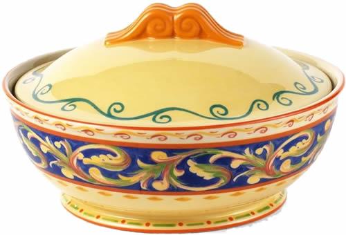 Pfaltzgraff Villa Della Luna Blue Stoneware Covered Serve Dish