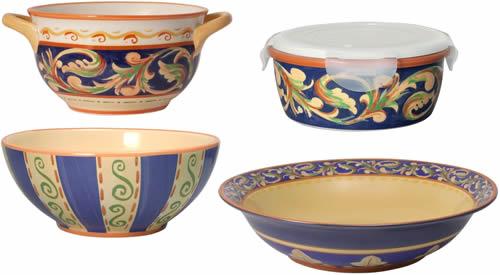 Large Pfaltzgraff Villa Della Luna Blue Stoneware Bowls