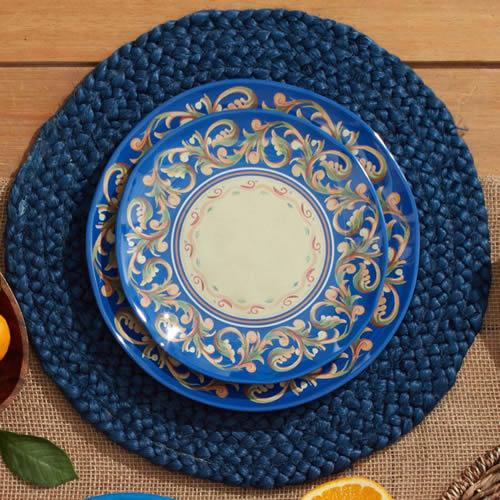 Pfaltzgraff Villa Della Luna Blue Melamine Plates