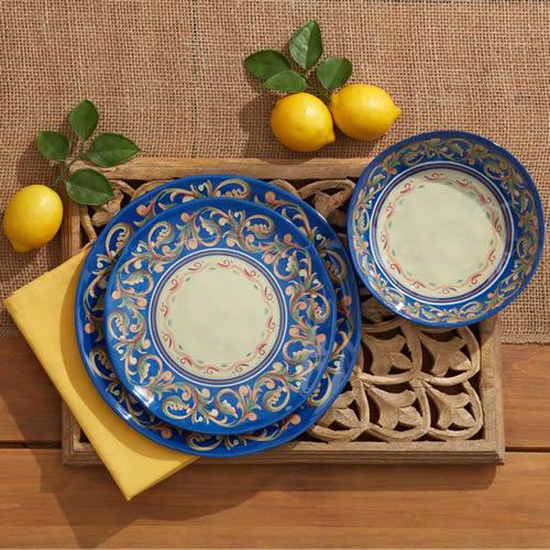 Pfaltzgraff Villa Della Luna Blue Melamine Dinnerware