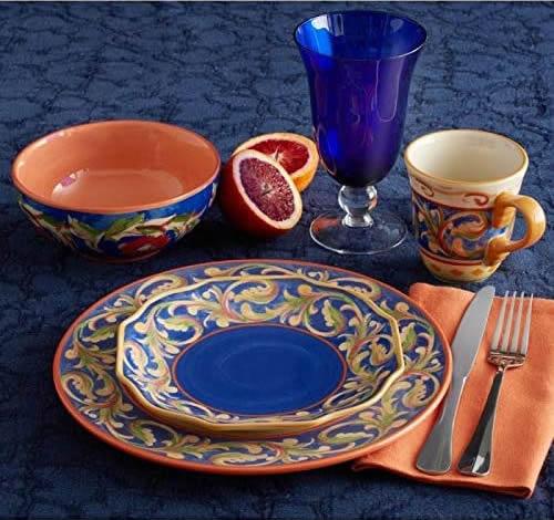 Pfaltzgraff Villa Della Luna Stoneware, Melamine and Cobalt Blue Glasses