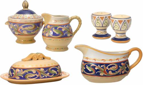 Pfaltzgraff Villa Della Luna Blue Stoneware Table Ware Sugar Bowl, Cream Pitcher, Salt and Pepper Shakers, Covered Butter Dish, Gravy Pourer