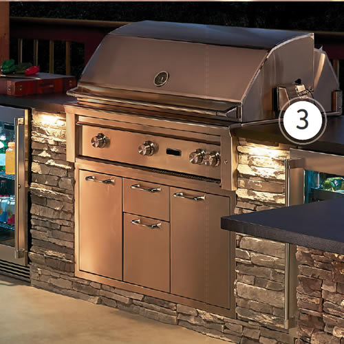 "Kichler 16101AZT27 6"" 2700K LED Hardscape Lighting highlights an outdoor kitchen"