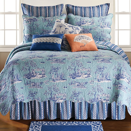 Colonial Williamsburg Hampstead Chinoiserie Toile Bedding Set