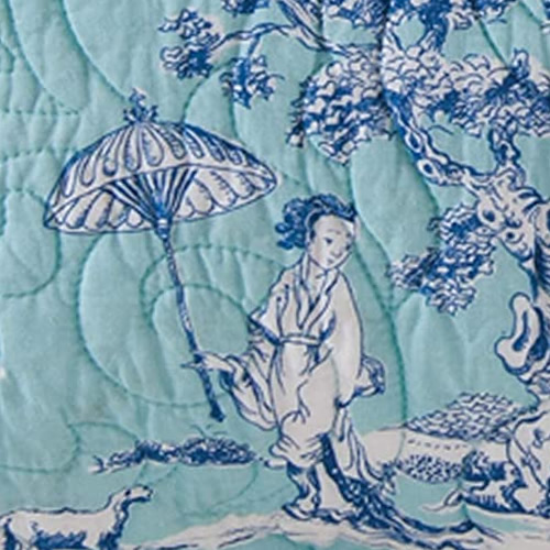 Blue and White Geisha on Turquoise background Colonial Williamsburg Foundation Hampstead Toile