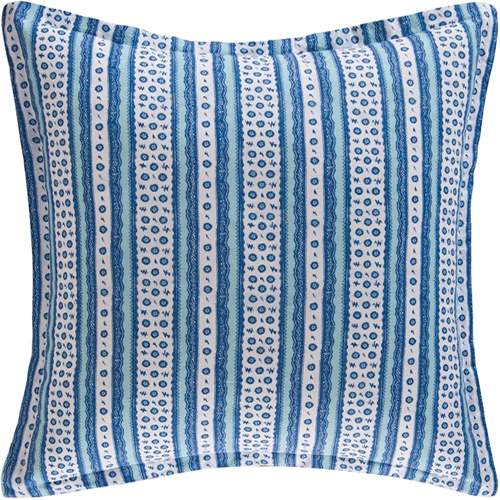 Colonial Williamsburg Foundation Hampstead Coordinating Euro Sham in cobalt blue and white stripes with tiny flowers and lace pattern