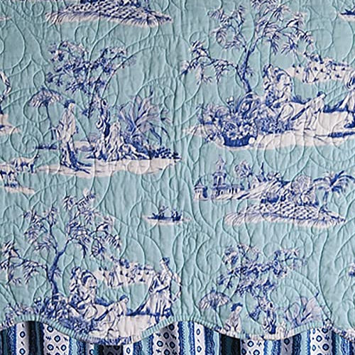 Colonial Williamsburg Foundation Hampstead Toile with cobalt blue chinoiserie motifs on aqua blue