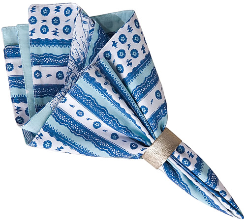 Colonial Williamsburg Hampstead Coordinating napkins in cobalt blue and white stripes with tiny flowers and lace pattern