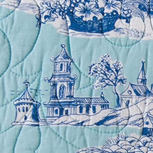 Colonial Williamsburg Foundation Hampstead Toile with Cobalt blue follies and geishas on aqua blue