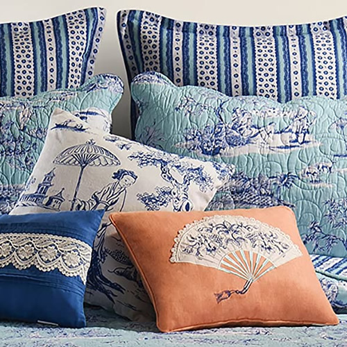 Standard and Euro Shams with coordinating throw pillows