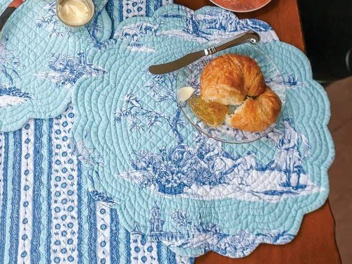 Colonial Williamsburg Foundation Hampstead Toile Placemat with Cobalt blue Chinoiserie print on aqua blue