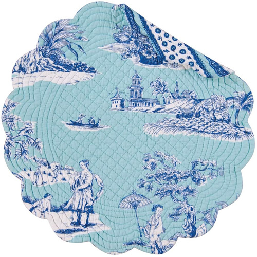 Colonial Williamsburg Foundation Hampstead Chinoiserie Toile Round Quilted Cotton Placemat