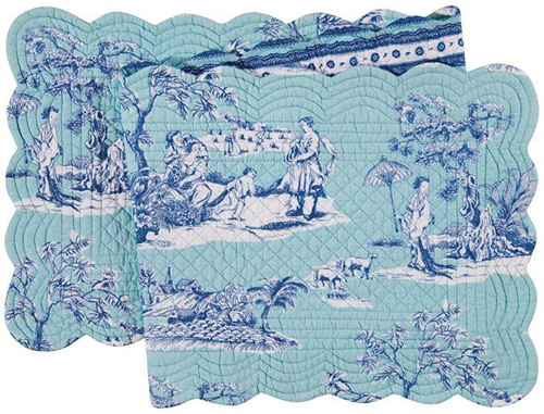 Colonial Williamsburg Foundation Hampstead Chinoiserie Toile Quilted Cotton Table Runner