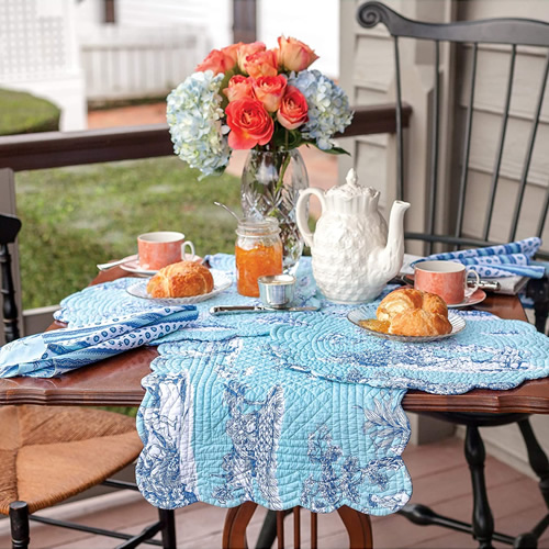 Colonial Williamsburg Foundation Hampstead Toile Table Linens with Cobalt blue Chinoiserie print on aqua blue