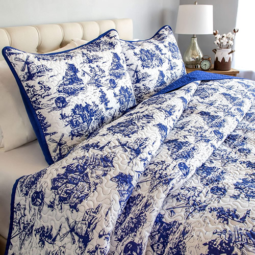 Classic Dutch Windmill Toile Print Bedding from Cozy Home