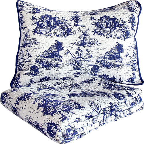 Cobalt Blue Classic Dutch Windmill Toile Print Bedding from Cozy Home