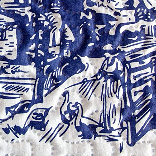 Woman with Geese Cobalt Blue Classic Holland Landscape Toile Print Bedding from Cozy Home