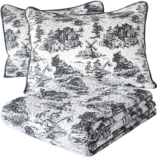 Grey Classic Dutch Windmill Toile Print Bedding from Cozy Home
