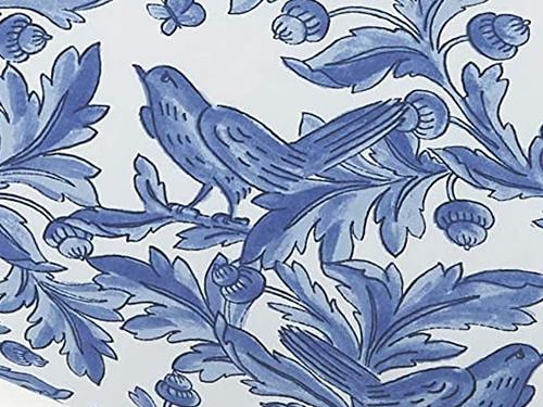 Molly Hatch Blue Bird Print with Blue Birds, Butterflies, Oak Leaves and Acorns