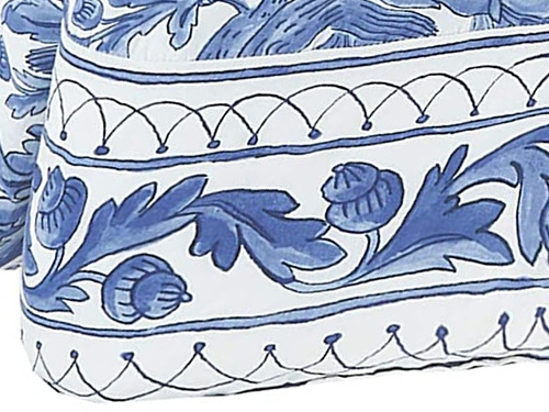 Molly Hatch Blue Bird Border printed with oak leaves and acorns between bands and lattice