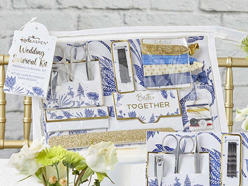 Blue Willow Wedding Survival Kit Blue, white and gold manicure set, hair ties, bobby pins, clothing tape, oil absorbing wipes, and sewing kit in a clear vinyl cosmetic bag