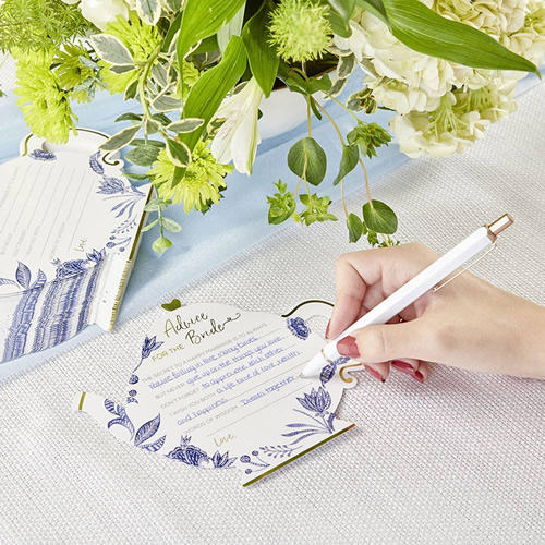 Blue Willow Teapot Wedding Advice Cards