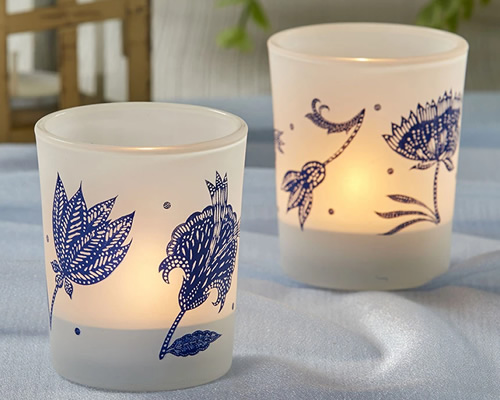Blue Willow Frosted Glass Votive Tea Light Candle Holders